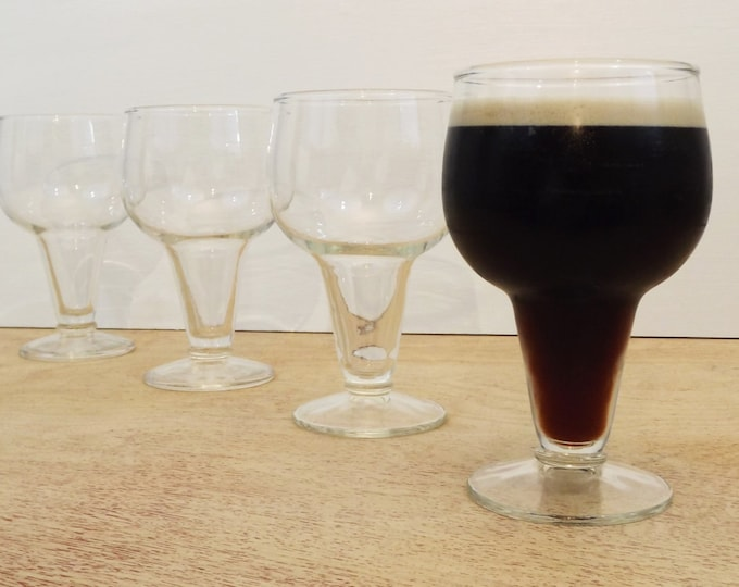 Beer Glasses Vintage Retro Steiner Glasses / Water Goblets - Set of Four - Clear - Funky Stemware - Circa 1950s