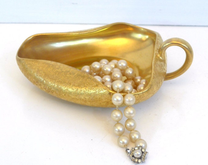 Antique Moschendorf PM Bavaria Germany Porcelain Trinket Dish Textured Gold - Dish w/ Handle Gold - Retro Vintage Home Decor
