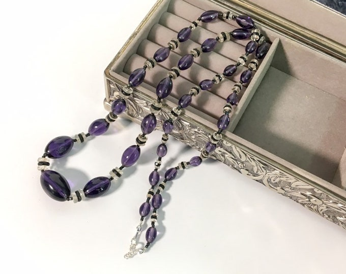 """Antique Flapper Purple Black & Clear Bead Necklace - Vintage 32"""" Long Opera Length Strand Beads circa 1920s - Retro Glass Bead Necklace"""