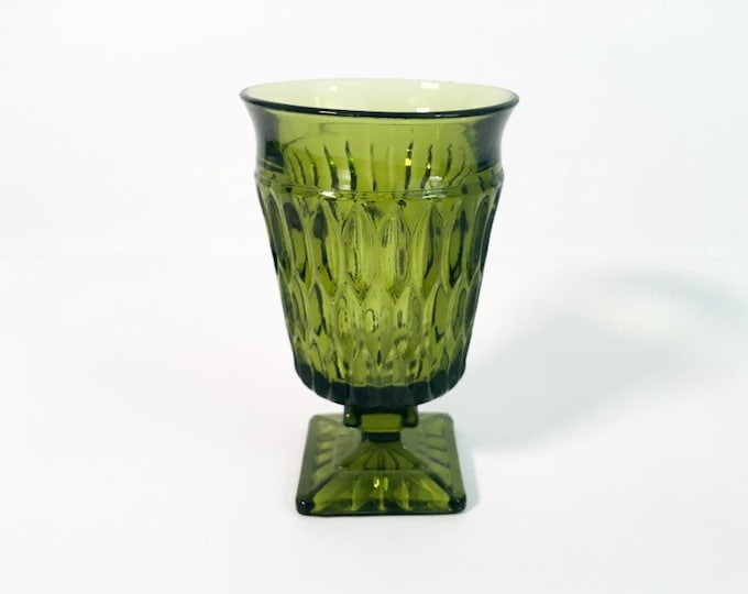 Single Mt Vernon Green Indiana Glass Co - Water Goblet Avocado Green Retro Water Iced Tea Glass w/ Flare Square Base