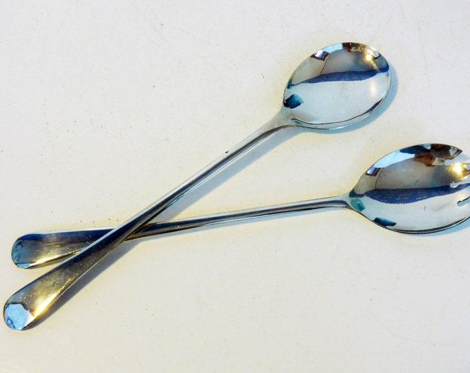 Pair Silver Plated Salad Spoons - 2 Vintage Silverplate Serving Utensils Fork Spoon - Sheffield England Retro Salad Serving Set