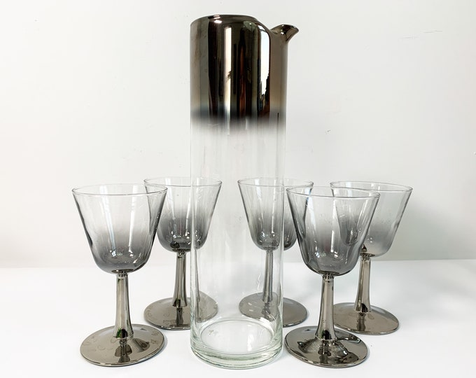 6 Pc Retro Martini Set - Pitcher & 5 Glasses Silver Band Ombre Glass - Vintage Cocktail Barware w/ Wide Ombre Band Mid century
