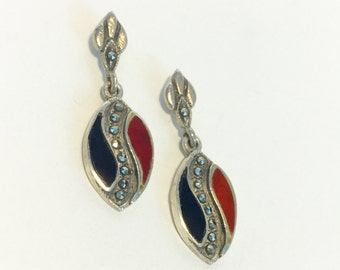 Vintage Sterling Silver (Black) Onyx, (Red) Carnelian and Marcasite Earrings - Stamped 925