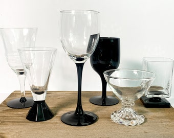 2nd Time Around Vintage Set 6 Black & Clear Wine Cocktail Glasses - Unique Retro Collection / Combination Barware Stemware Cocktail Glass