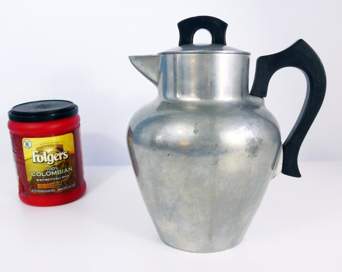 Vintage Club Cookware Aluminum Coffee Pot or Serving Pitcher - Art Deco Style Kitchen Ware - Retro Large Pot w/ Black Wood Handle