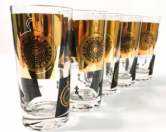 Set of 5 Mid century Glasses Black & Gold w/ Pocket Watch Clock Designs Tall Tumblers- Vintage / Retro Mid Century Modern Drinkware Design
