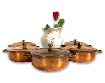 Vintage Copper & Brass Pots w/ Lids - Five Available - Round Handled Retro Lidded Small Containers Mid century