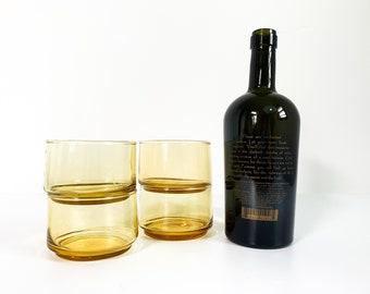 Vintage / Retro Amber Stackable Drinking Glasses - Set of 4 Lowball / Barware - Vintage Glassware