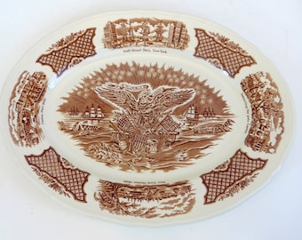 Large Alfred Meakin Oval China Platter - Fair Winds Copper Etched Platter Scenes from 1800s - Meakin Pottery Tray Staffordshire England