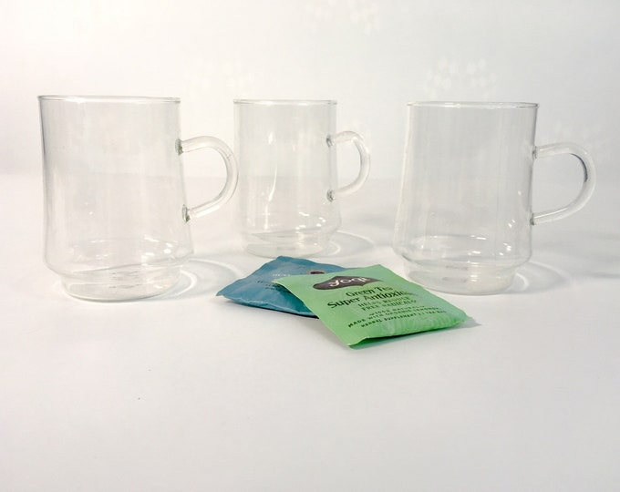 Vintage Set of 3 SCHOTT-ZWIESEL Verran Collection Glass Footed Coffee Mugs / Cups - Made in Denmark - Danish Modern Mod Glasses