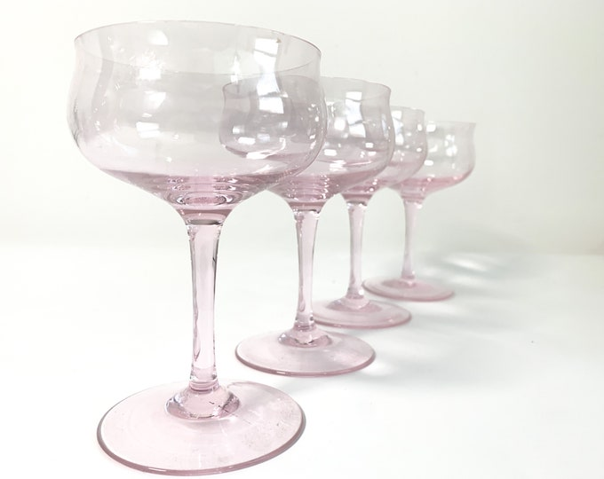 Vintage Set 4 Pink Champagne Coupes  - Evening Rose Tiffin Franciscan - 4 Elegant Glasses