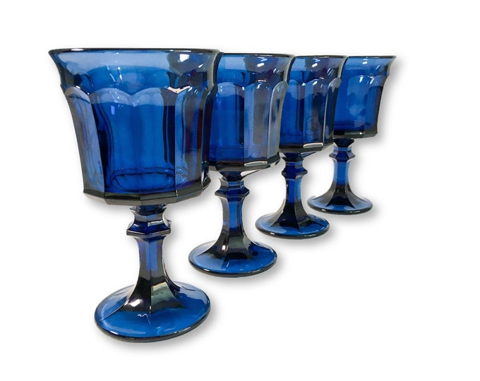 4 Vintage Entree by Oneida Glasses / Goblets Vintage Blue - Dining Entertaining