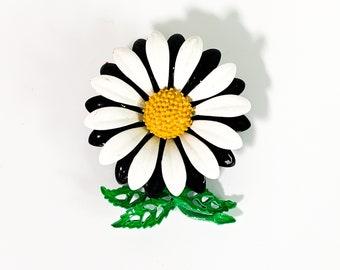 Vintage Enamel Flower Brooch - Retro Daisy Mid Century Floral Pin