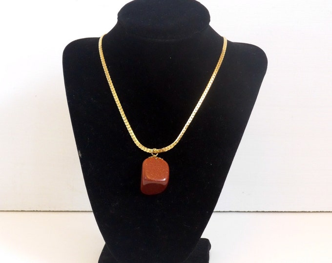 Vintage Goldstone Pendant Necklace - Vintage Gold Tone Chain Large Goldstone or Adventurine Glass Pendant
