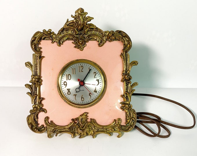 Vintage Sessions Electric Alarm Wall Clock Pink Background Brass Frame - Mid century Ornate Hollywood Regency Home Decor