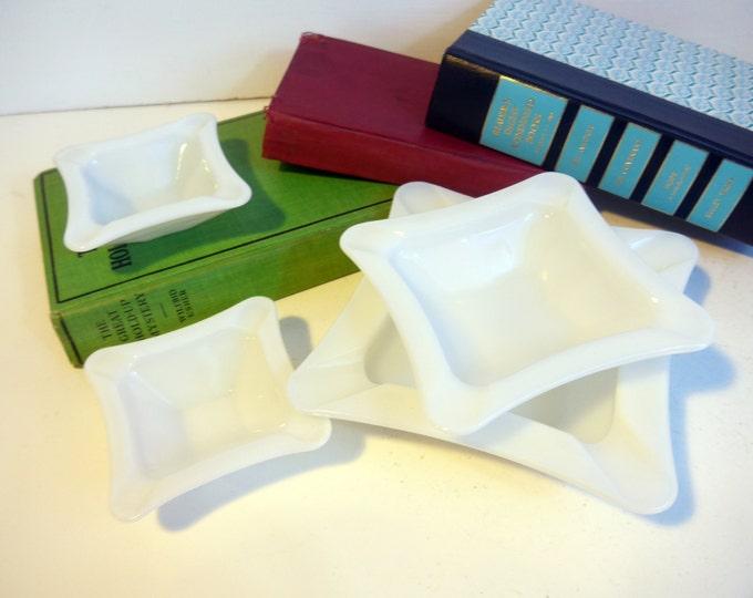 Set of 4 Matching Ashtrays - Vintage Milk Glass Ashtrays 1 large, 1 medium, 2 small Glass Ash trays - Mid century Home Decor Retro Ashtrays