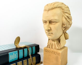 Vintage Bust of Motzart circa 1950s - Music Composer Retro Chic Music Composer Mid century Home Library Office Decor