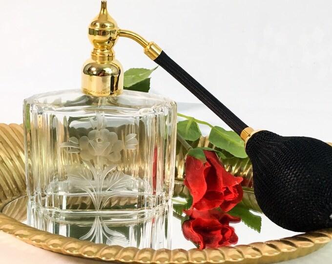 Marcel Franck Etched Glass Perfume Bottle Made in France, Brevete Vintage Floral Rose FRENCH Atomizer