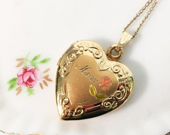 Vintage 14K Gold Filled MOM Locket Necklace - 2 Photo Compartments Heart Shape Retro Jewelry - Pink Rose w/ Green Stem Mother Gift