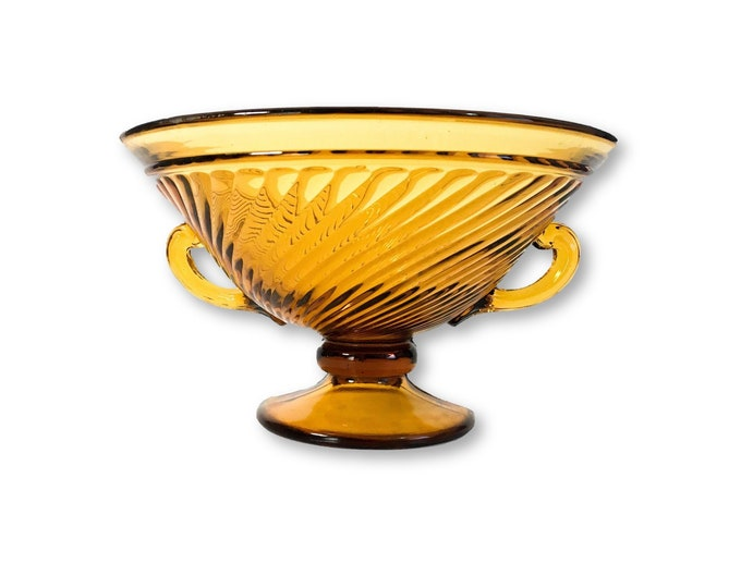 Amber Glass Bowl w/ Swirl & 2 Handles and Wide Bead on Stem - Large Mid century Retro Pedestal Fruit Bowl -  Home Decor Serving