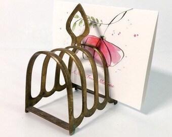 Vintage Brass Letter Holder - Simple, Elegant Desk Letter Holder Reteo Brass Office Decor
