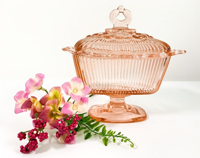 Vintage Pink Glass Pedestal Covered Candy Dish Lace Edging - Wedding Decor - Unusual Mid Century Lidded Candy Dish Compote
