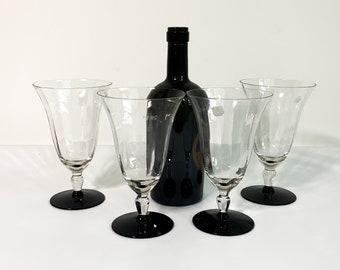 4 Vintage Clear Stem Black Base Water Goblets or Glasses - Vertical Ribbed Bowls - Set of Four Unique Retro Glasses