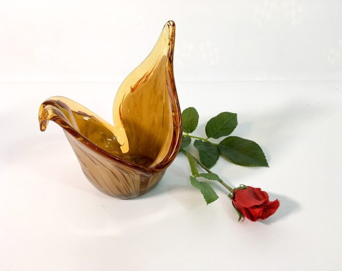 Vintage Murano Art Glass Bowl - Amber & White Swirl Folded Edges Dish - Murano White CRISTAL made in Italy - Retro Home Decor Glass Dish