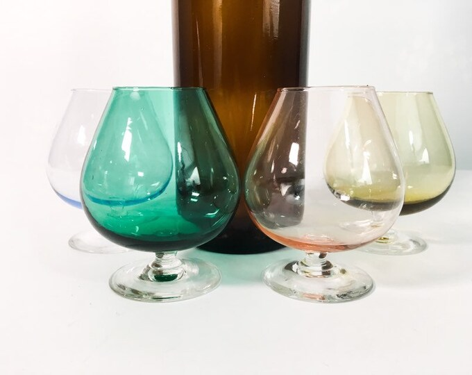 Mid century Brandy Snifter Set - 4 Different Colored Snifters - Vintage Multicolored Snifter Glasses Light Blue, Pink, Amber & Dark Green