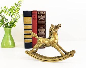 Vintage Solid Brass Rocking Horse - Home Decor Equestrian Statue Figurine - Equine Statue -  Nursery Kid's Room Animal Horse Home Decor