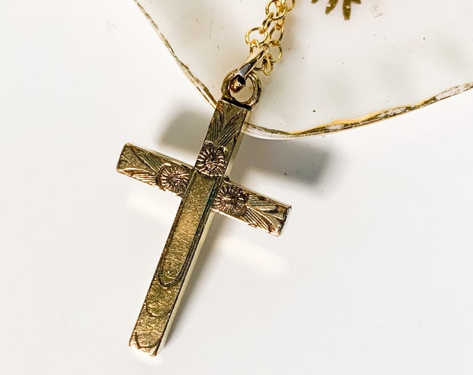 Vintage Gold Filled Etched Cross Necklace on 14K Gold Filled Chain - Retro Jewelry Religious Christian - Gift Girl Communion Confirmation
