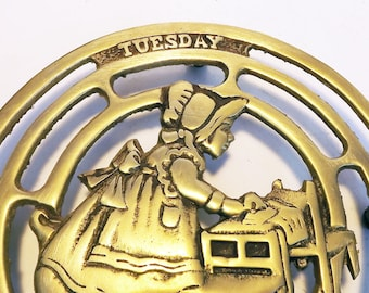 Tuesday It's pleasant to labor for those we love - Girl Making the Bed Vintage Brass Trivet Round Trivet Made in Korea Kitchen Decor Brass