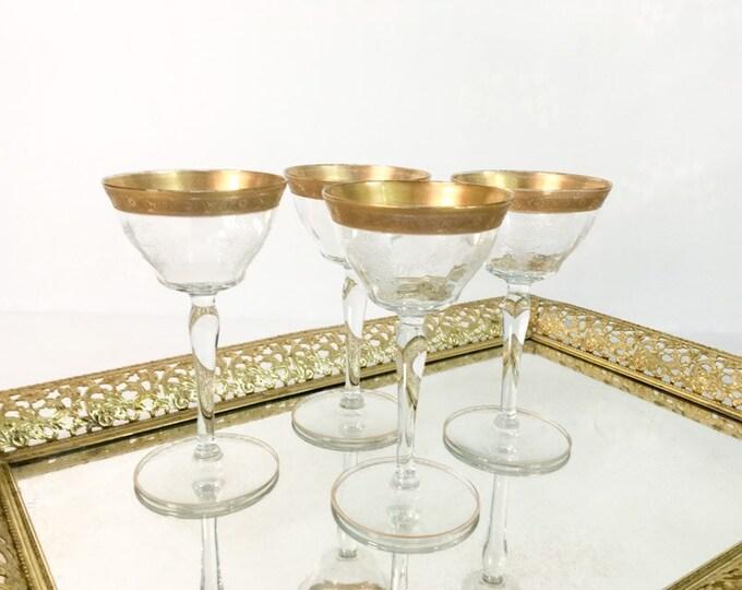4 Vintage Gold Rimmed Wine Glasses - Four Retro Liquor Cocktail Wine - Possible Franciscan or Tiffin - Embossed Floral on Bowl Barware