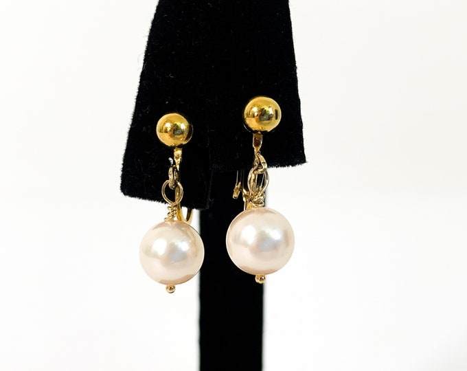 Vintage Pearl & 12K Gold Filled Earrings - Retro Dangle Genuine Pearl Clip-on w/ Adjustable Screw Back - Mid century Classic Wedding Jewelry