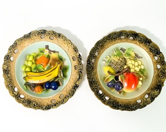 Vintage Pair CHALKWARE Plaques Fruit Kitsch Wall Plates - 2 Shabby Chic - 2 Matching Kitchen Dining Home Decor