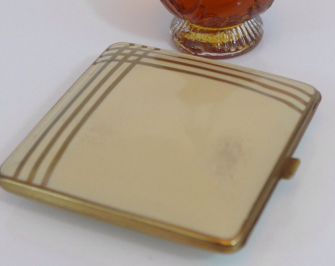 Vintage Clarice Jane Compact - Ivory Enamel Gold Trim Stripes - Enamel Compact - Mid Century with Art Deco Look Makeup Compact by C J Inc
