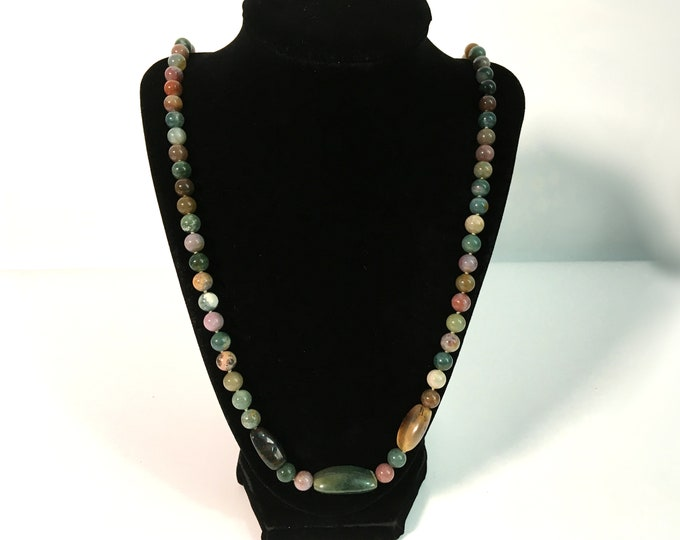 """Vintage Long Multi Colored Semi Precious Stone Necklace - Vintage 32"""" ca 1970s Opera Length Green Tan Brown Lavender Beads w/ Sterling Clasp"""