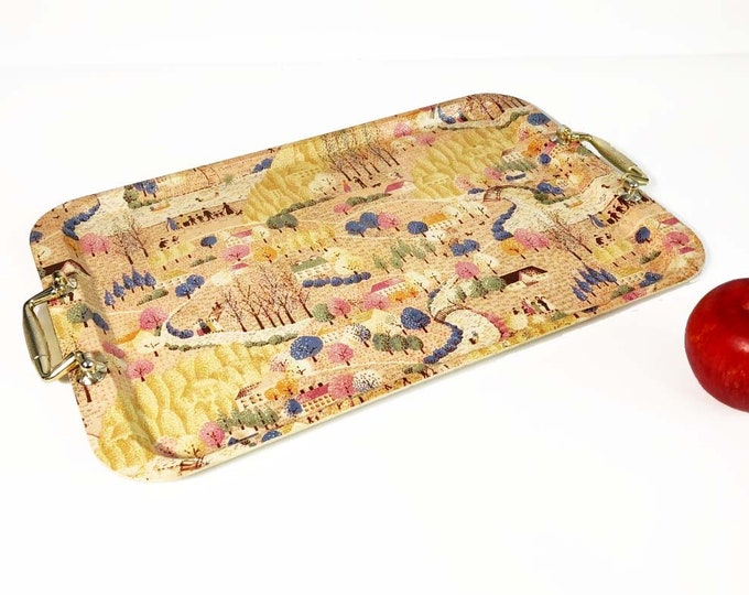 Vintage Plastic Rectangle Serving Tray - Made in Japan Alcohol Proof - Shabby Cottage Chic Home Decor Gold Tone Handles Handled Tray