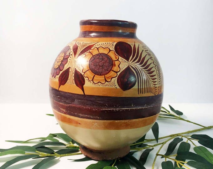 Vintage Large Pottery Vase - Rustic Southwest Flowers Leaves - Art Pottery Vase - Round Striped Flowered Design Vase Home Decor Retro