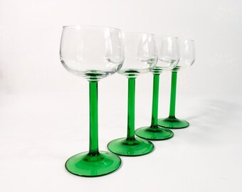 4 Vintage / Retro Rine Wine or Cordial Glasses w/ Green Stem - FRANCE Riesling Glasses Durand - 4  Clear Bowl & Green Stemware Mid Century