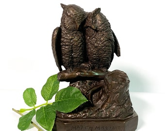 Vintage Chalkware Owl Statue Pair Birds Titled Matchmaking - Brown Mid Century Hallmarked Home Library Nature Decor
