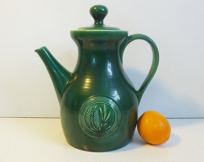 Red Wing Pottery Butter Mold LARGE Stoneware Pitcher w/ Lid - Green Mid century Pitcher by Ernest Sohn circa 1950 - 1960s Green Butter Mold
