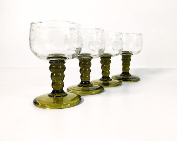 4 Vintage Roemer Austrian Wine Glasses - Set of 4 Green Stem Clear Bowl with Etched Glass Austria - Grapes and Vine Etched Wine Glasses