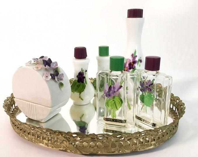 Vintage Devon Violets Perfume Bottles, Atomizer and Vanity Tray - Mid century Bathroom Bedroom Decor England