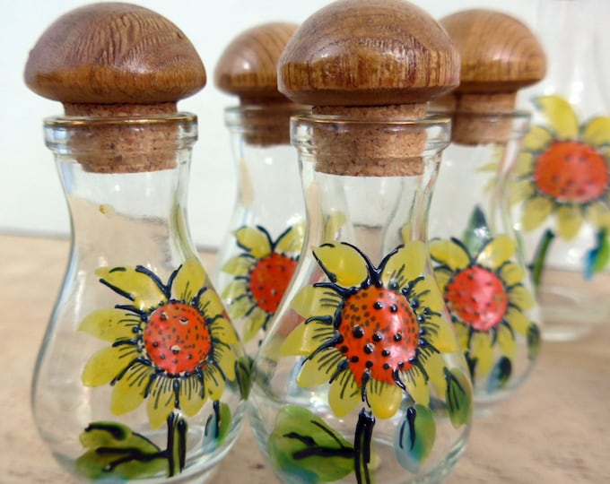 Vintage Glass Cruet Set - Mod 6 Piece Flower Power Cruet Set - 1970s Cruet Set of 6 w/ Handpainted Sunflowers