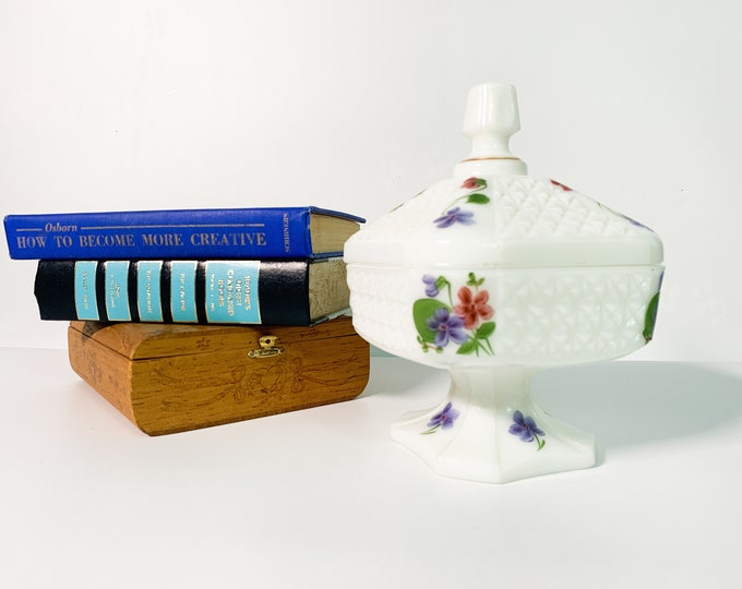Vintage Hand painted Floral Milk Glass Wedding Cake Box Jar w/ Lid - White Candy Pedestal Dish Square Painted Gold Trim