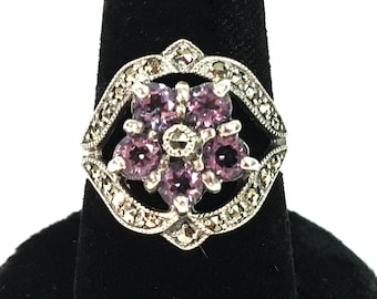 Vintage Ornate Sterling Silver Amethyst & Marcasite 925 Sterling Silver Ring w/ Flower Design - Retro Jewelry Purple Gem Stone Hallmarked