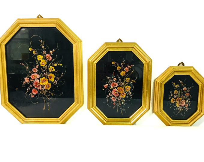 Vintage Set of 3 Floral in Black w/ 22K Gilt Frames Graduated Sizes Italy Wall Decor - Retro Home Decor Octagonal Frames 3 pc Set - 3 Sizes