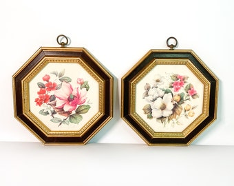 2 Vintage Turner Wall Art - Pair Matching Floral Wood Octogan Framed Flowers Mid Century Home Decor Retro Style