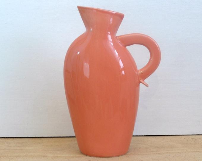 Lindt Stymeist Colorways Pitcher or Vase Salmon with Blue - Vintage Lindt Stymeist Pottery Pitcher - Sticker Still Intact on bottom